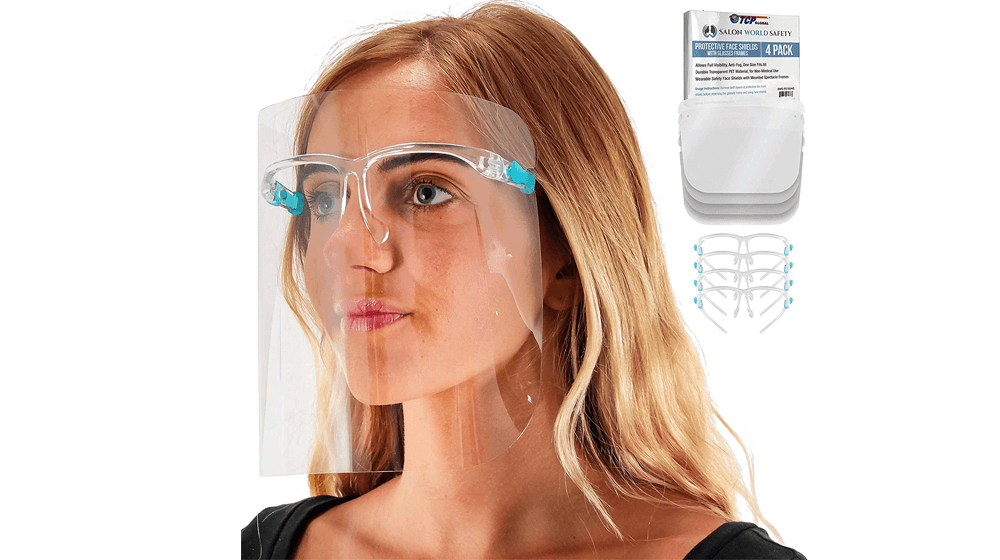 TCP Global Salon World Safety Face Shields with Glasses Frames (Pack of 4) - Ultra Clear Protective Full Face Shields to Protect Eyes